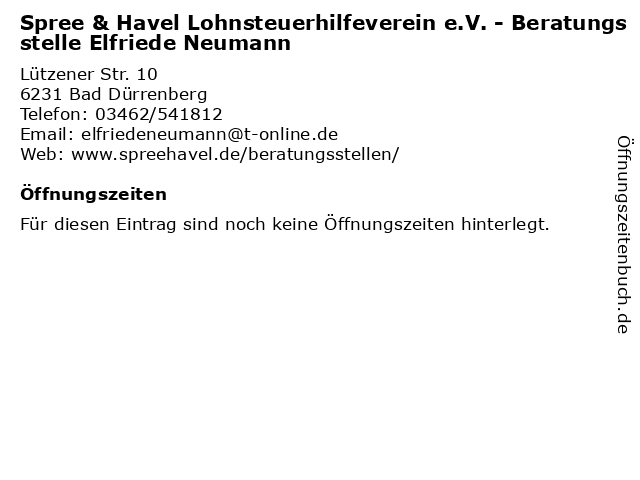 Spree & Havel Lohnsteuerhilfeverein e.V. - Beratungsstelle Elfriede Neumann in Bad Dürrenberg: Adresse und Öffnungszeiten