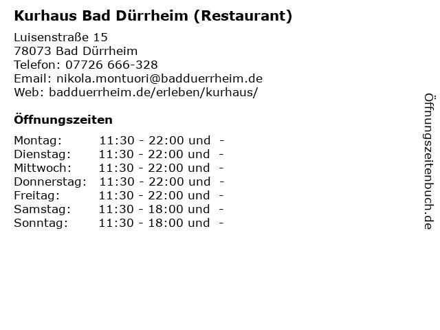 Kurhaus Bad Dürrheim (Restaurant) in Bad Dürrheim: Adresse und Öffnungszeiten