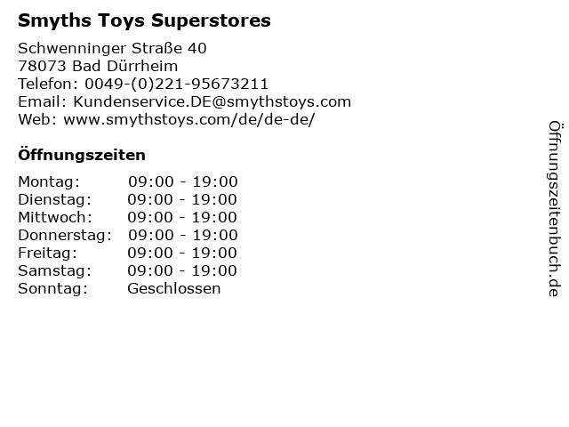 Smyths Toys Superstores in Bad Dürrheim: Adresse und Öffnungszeiten