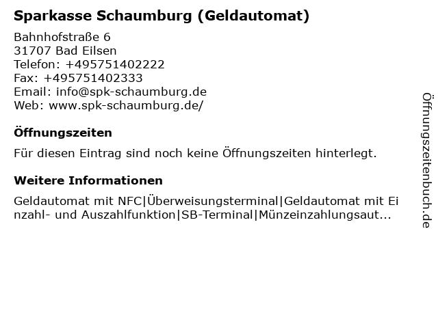 Sparkasse Schaumburg in Bad Eilsen: Adresse und Öffnungszeiten