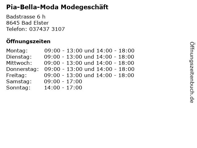 Pia-Bella-Moda Modegeschäft in Bad Elster: Adresse und Öffnungszeiten