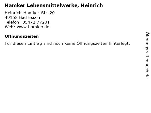 Hamker Lebensmittelwerke, Heinrich in Bad Essen: Adresse und Öffnungszeiten