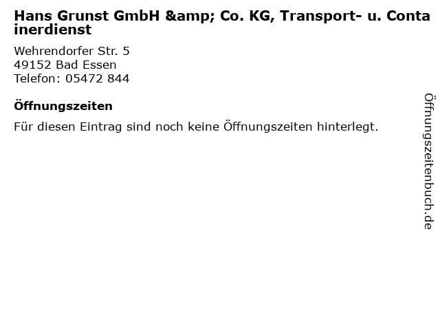 Hans Grunst GmbH & Co. KG, Transport- u. Containerdienst in Bad Essen: Adresse und Öffnungszeiten