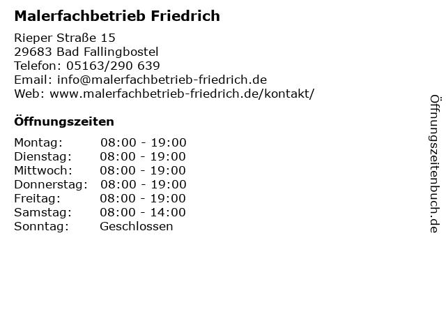 Malerfachbetrieb Friedrich in Bad Fallingbostel: Adresse und Öffnungszeiten