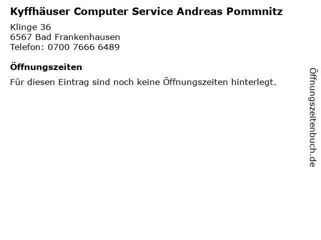 Kyffhäuser Computer Service Andreas Pommnitz in Bad Frankenhausen: Adresse und Öffnungszeiten