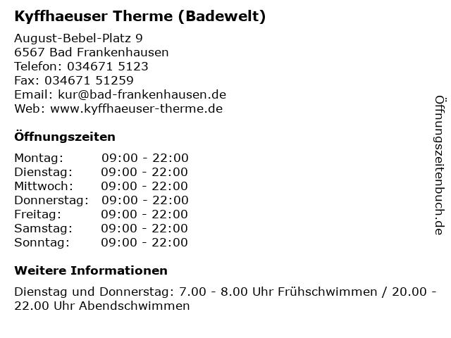 Kyffhaeuser Therme (Badewelt) in Bad Frankenhausen: Adresse und Öffnungszeiten