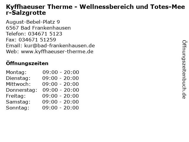 Kyffhaeuser Therme - Wellnessbereich und Totes-Meer-Salzgrotte in Bad Frankenhausen: Adresse und Öffnungszeiten