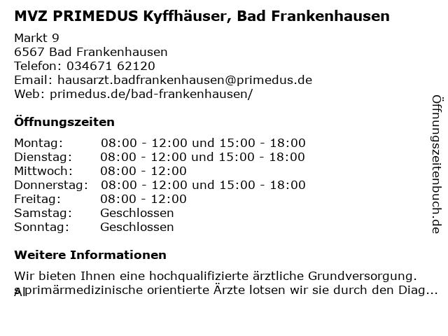 MVZ PRIMEDUS Kyffhäuser in Bad Frankenhausen: Adresse und Öffnungszeiten