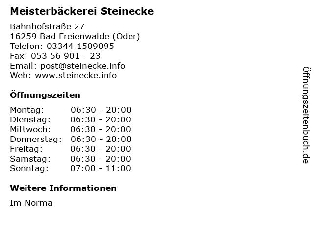 Meisterbäckerei Steinecke in Bad Freienwalde (Oder): Adresse und Öffnungszeiten