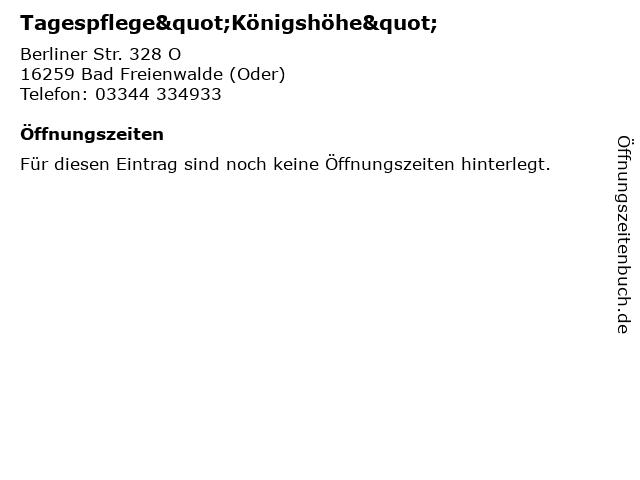 """Tagespflege""""Königshöhe"""" in Bad Freienwalde (Oder): Adresse und Öffnungszeiten"""