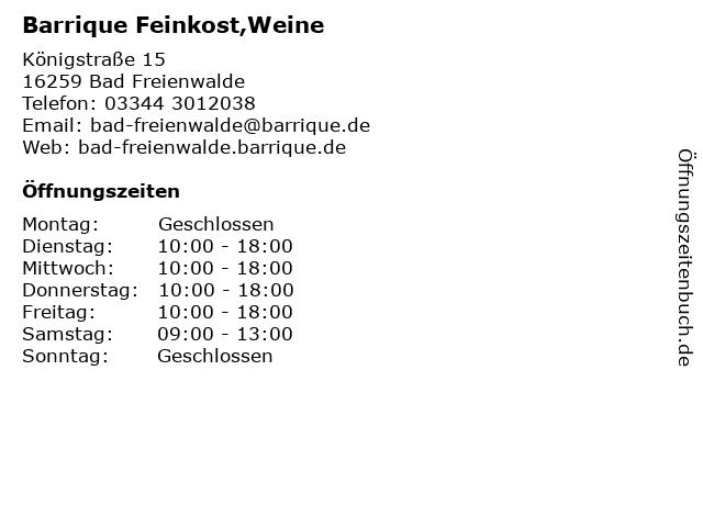 Barrique Feinkost,Weine in Bad Freienwalde: Adresse und Öffnungszeiten