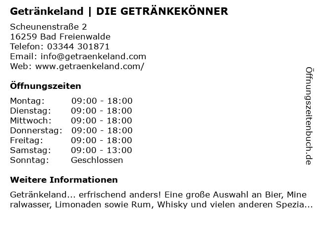 Getränkeland Heidebrecht GmbH & Co. KG in Bad Freienwalde: Adresse und Öffnungszeiten