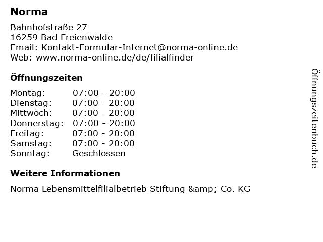 Norma Lebensmittelfilialbetrieb Stiftung & Co. KG in Bad Freienwalde: Adresse und Öffnungszeiten
