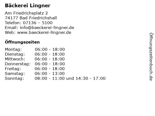 Bäckerei Lingner in Bad Friedrichshall: Adresse und Öffnungszeiten