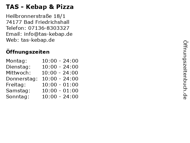 TAS - Kebap & Pizza in Bad Friedrichshall: Adresse und Öffnungszeiten