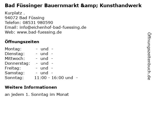 Bad Füssinger Bauernmarkt & Kunsthandwerk in Bad Füssing: Adresse und Öffnungszeiten