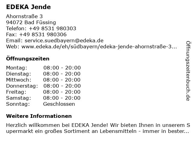 EDEKA Jende in Bad Füssing: Adresse und Öffnungszeiten