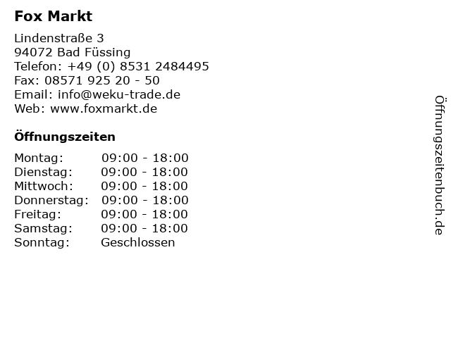 Fox Markt in Bad Füssing: Adresse und Öffnungszeiten