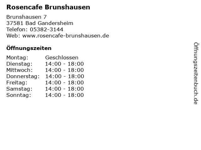 rosencafe bad gandersheim öffnungszeiten