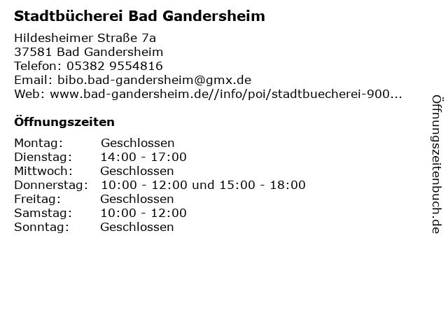 Stadtbücherei Bad Gandersheim in Bad Gandersheim: Adresse und Öffnungszeiten