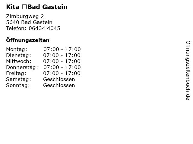 Kita Bad Gastein in Bad Gastein: Adresse und Öffnungszeiten