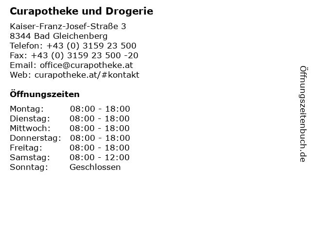 Curapotheke und Drogerie in Bad Gleichenberg: Adresse und Öffnungszeiten