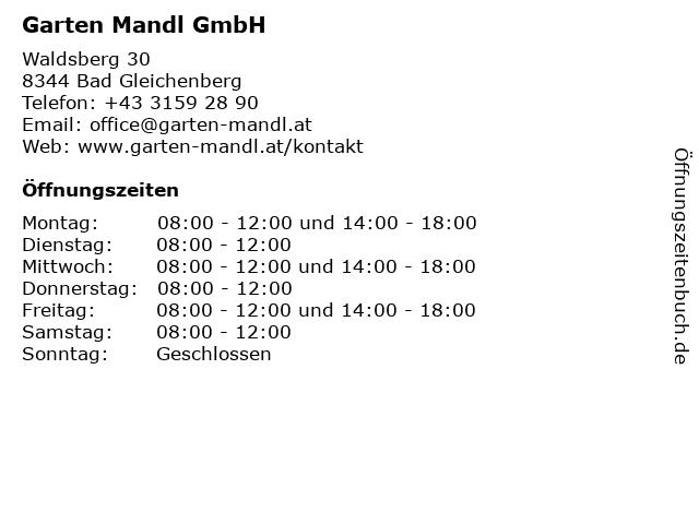 Garten Mandl GmbH in Bad Gleichenberg: Adresse und Öffnungszeiten