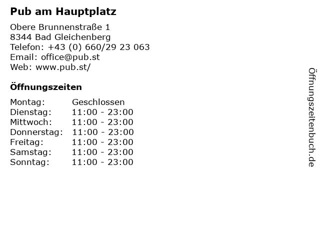 Pub am Hauptplatz in Bad Gleichenberg: Adresse und Öffnungszeiten