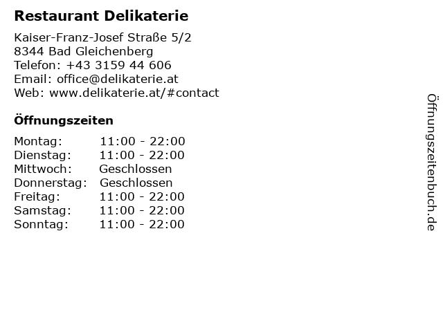 Restaurant Delikaterie in Bad Gleichenberg: Adresse und Öffnungszeiten