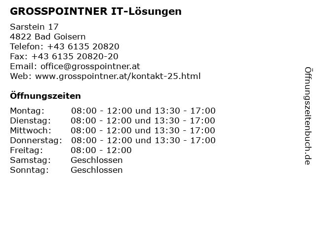 GROSSPOINTNER IT-Lösungen in Bad Goisern: Adresse und Öffnungszeiten