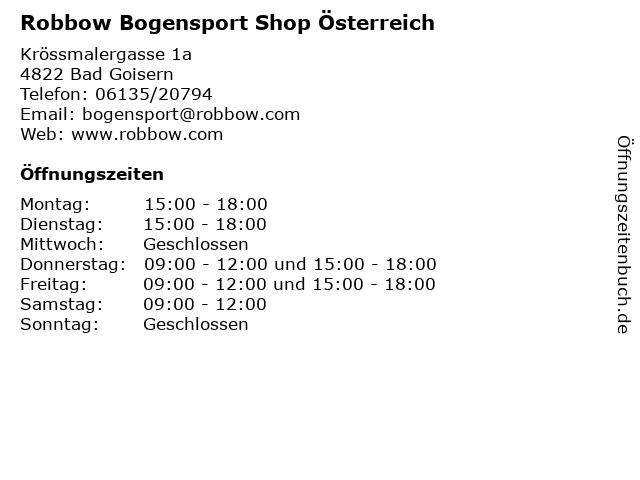 Robbow Bogensport Shop Österreich in Bad Goisern: Adresse und Öffnungszeiten