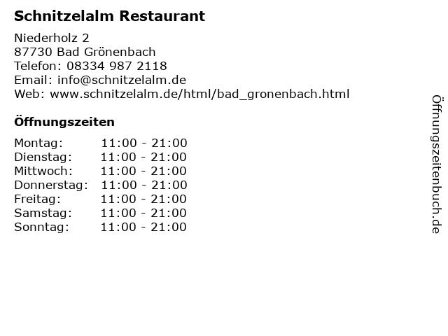 Schnitzelalm Restaurant in Bad Grönenbach: Adresse und Öffnungszeiten