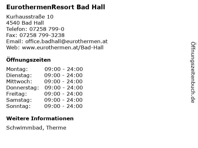 EurothermenResort Bad Hall in Bad Hall: Adresse und Öffnungszeiten