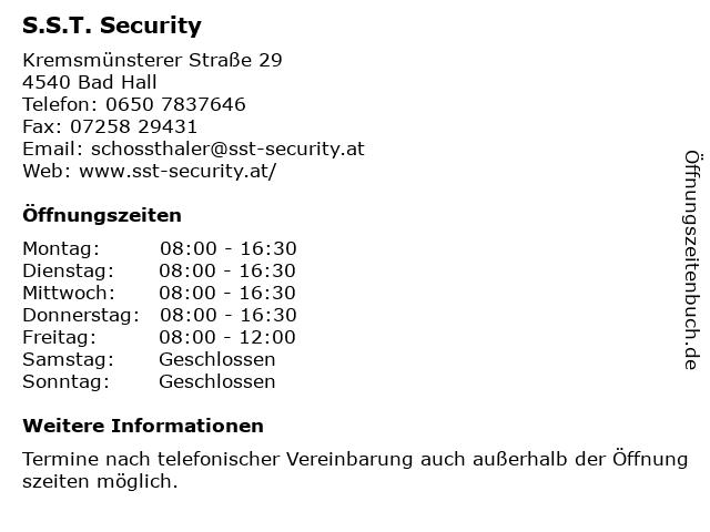 S.S.T. Security in Bad Hall: Adresse und Öffnungszeiten