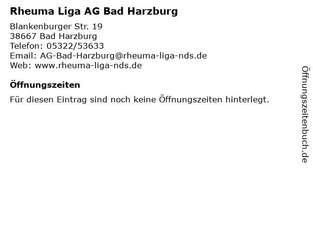 Rheuma Liga AG Bad Harzburg in Bad Harzburg: Adresse und Öffnungszeiten