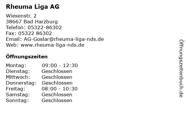 Rheuma Liga AG in Bad Harzburg: Adresse und Öffnungszeiten