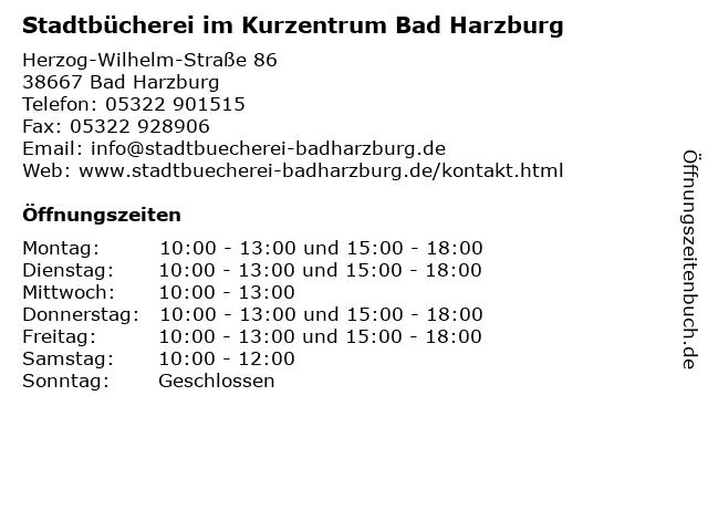Stadtbücherei im Kurzentrum Bad Harzburg in Bad Harzburg: Adresse und Öffnungszeiten