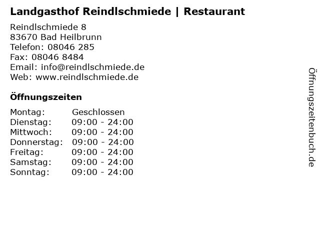 Landgasthof Reindlschmiede | Restaurant in Bad Heilbrunn: Adresse und Öffnungszeiten