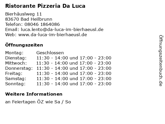 Ristorante Pizzeria Da Luca in Bad Heilbrunn: Adresse und Öffnungszeiten