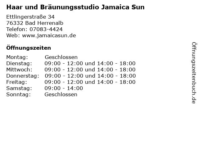 Haar und Bräunungsstudio Jamaica Sun in Bad Herrenalb: Adresse und Öffnungszeiten
