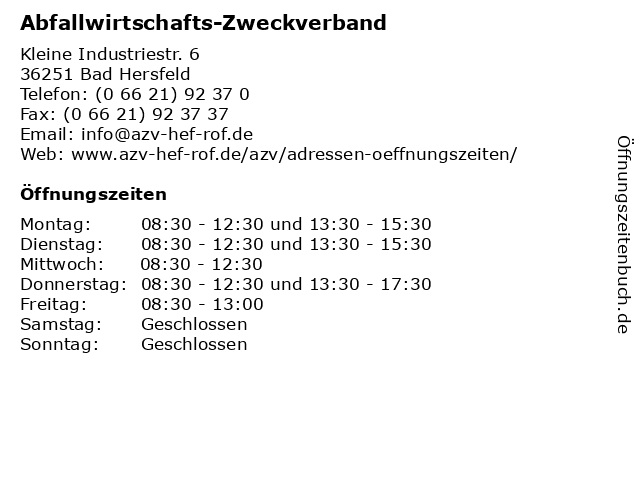 Abfallwirtschafts-Zweckverband in Bad Hersfeld: Adresse und Öffnungszeiten