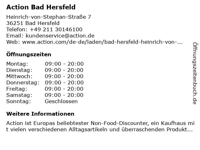 Action Discountmarkt in Bad Hersfeld: Adresse und Öffnungszeiten