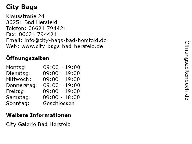 City Bags in Bad Hersfeld: Adresse und Öffnungszeiten
