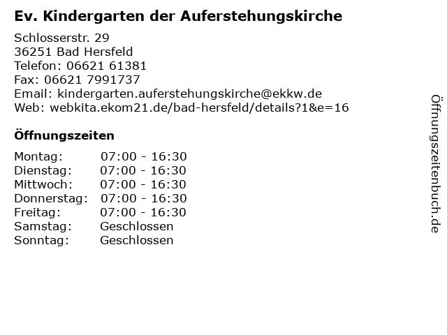 Ev. Kindergarten der Auferstehungskirche in Bad Hersfeld: Adresse und Öffnungszeiten