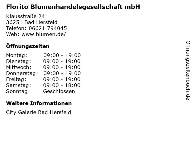 Florito Blumenhandelsgesellschaft mbH in Bad Hersfeld: Adresse und Öffnungszeiten