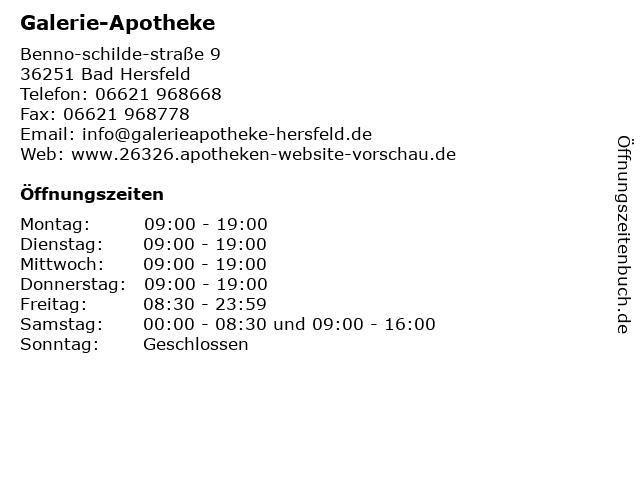 Galerie Apotheke Bad Hersfeld in Bad Hersfeld: Adresse und Öffnungszeiten