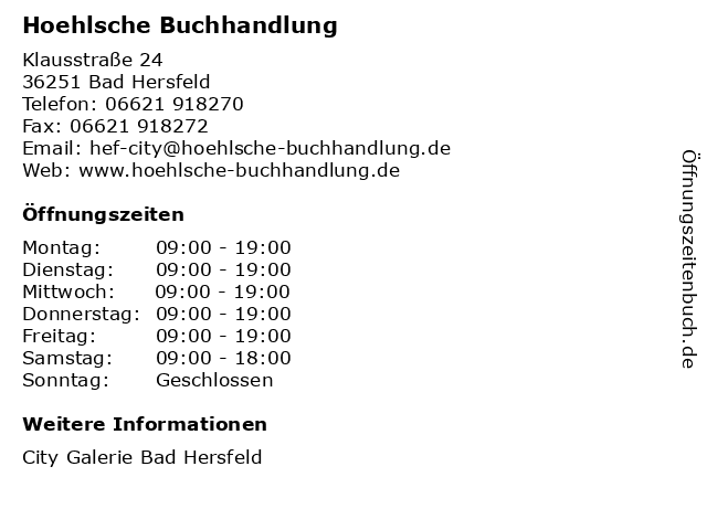 Hoehlsche Buchhandlung in Bad Hersfeld: Adresse und Öffnungszeiten