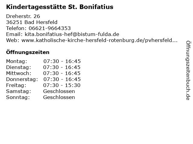 Kindertagesstätte St. Bonifatius in Bad Hersfeld: Adresse und Öffnungszeiten