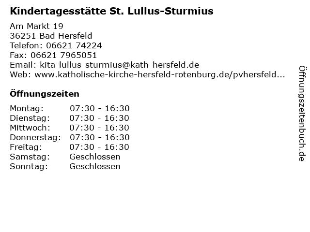Kindertagesstätte St. Lullus-Sturmius in Bad Hersfeld: Adresse und Öffnungszeiten
