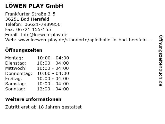 LÖWEN PLAY GmbH in Bad Hersfeld: Adresse und Öffnungszeiten